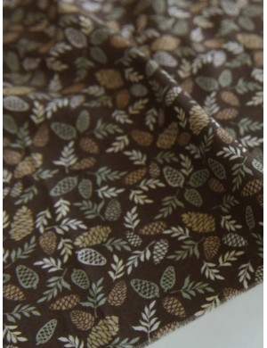 Ткань 100 % хлопок, Шишки на коричневом фоне, ширина 110 см, плотность 150 г/м2, производитель Корея