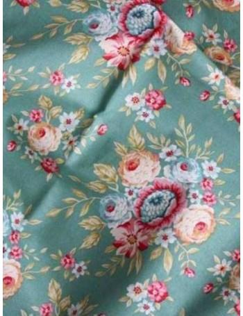 Ткань 100 % хлопок, Цветочный букет на зеленом фоне, ширина 110 см, плотность 155 г/м2, производитель Корея