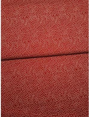 Ткань 100 % хлопок, Белый горох на красном фоне , ширина 110 см, плотность 155 г/м2