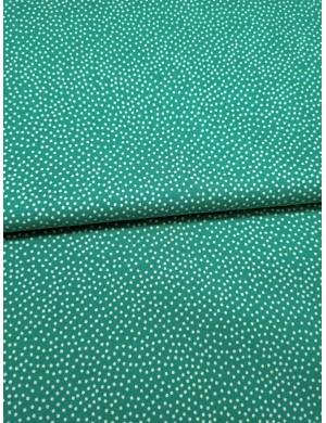 Ткань 100 % хлопок, Белый горох на бирюзовом фоне, ширина 110 см, плотность 155 г/м2