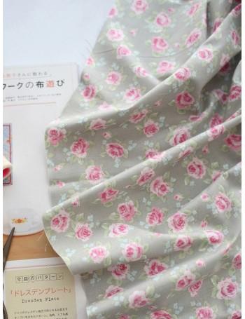 Ткань 100 % хлопок, Шебби розы на сером фоне, ширина 110 см, плотность 155 г/м2, производитель Корея
