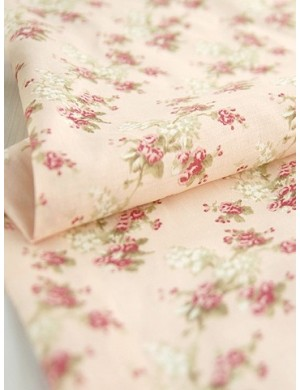 Ткань 100 % хлопок, Букеты цветов на розовом фоне, ширина 110 см, плотность 155 г/м2, производитель Корея