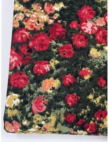 Ткань 100 % хлопок, Красные розы на черном, ширина 110 см, плотность 155 г/м2, производитель Корея