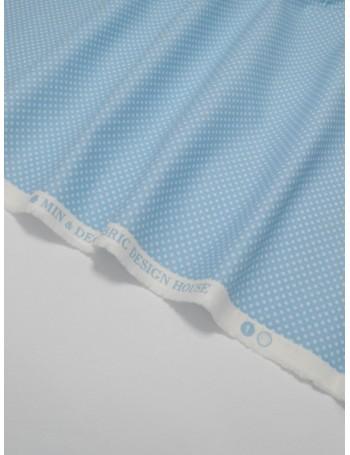 Ткань 100 % хлопок, Горох на голубом фоне 2 мм, ширина 110 см, плотность 155 г/м2, производитель Корея