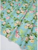 Ткань 100 % Американский хлопок, Шебби розы на бирюзовом фоне, ширина 110 см, плотность 155 г/м2