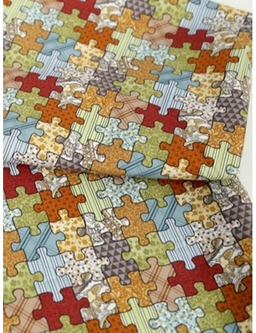 Ткань 100 % хлопок, Пазлы разноцветные, ширина 110 см, плотность 155 г/м2, производитель Корея