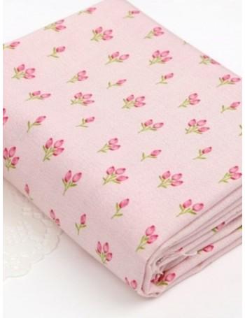 Ткань 100 % хлопок, Тюльпаны на розовом фоне, ширина 110 см, плотность 155 г/м2, производитель Корея