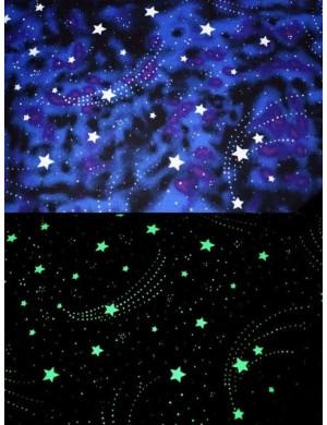 Ткань Американский 100 % хлопок, Звездное небо на синем фоне, ширина 110 см, плотность 155 г/м2, производитель Корея