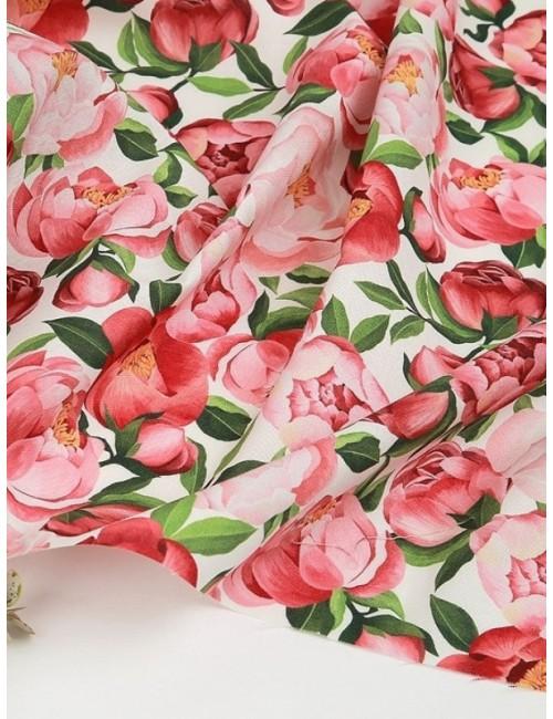 Ткань 100 % хлопок, Пионы на белом фоне, ширина 110 см, плотность 155 г/м2, производитель Корея