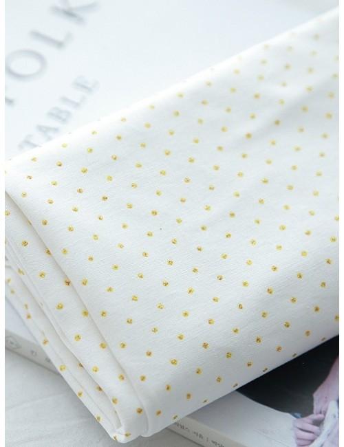 Ткань 100 % хлопок, Золотой горох на белом фоне 2 мм, ширина 110 см, плотность 155 г/м2, производитель Корея