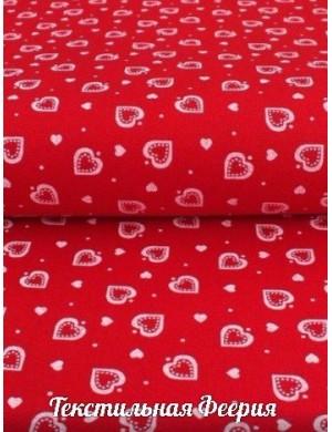 Ткань Сердца Белые на красном
