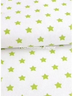 Ткань 100 % хлопок, Чехия, Салатовые звезды на белом фоне , плотность 145 г/м2, ширина 147 см