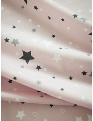 Ткань Звезды серые на розовом